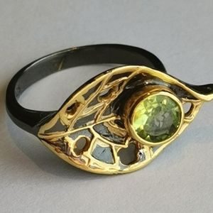 NWT, peridot sterling silver 14k gold leaf ring